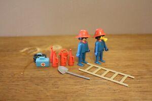 Playmobil Vintage Lot Pompiers Chantier Chevalier + accessoires