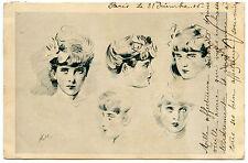 ARTIST SIGNED. PAUL CéSAR HELLEU. PORTRAITS JOLIES FEMMES. GORGEOUS WOMANS.