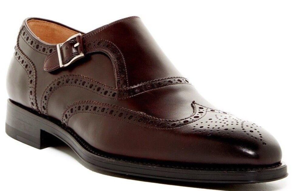 325 Magnanni Alava punta del ala Monje Correa Mocasín Zapato Borgoña para Hombre De Cuero Talle 11