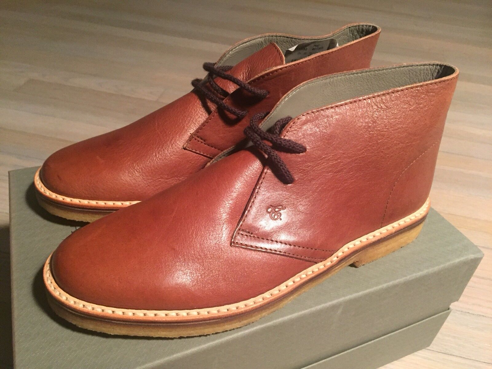 750  Canali Light Brown Leather Chukka Boots Size US 10.5 Made in