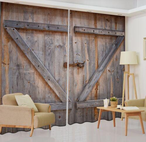 2 Panels Rustic Barn Door Window 3D Curtain Kids Room Darkening Blockout Drapes