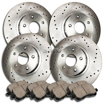 Fit 2005 Chevrolet Express 3500 Front Gold Drill Slot Brake Rotors+Ceramic Pads