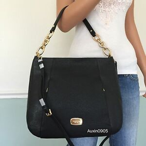 90d4044ad26f7f Image is loading NEW-MICHAEL-KORS-Black-Leather-Large-Convertible-Shoulder-