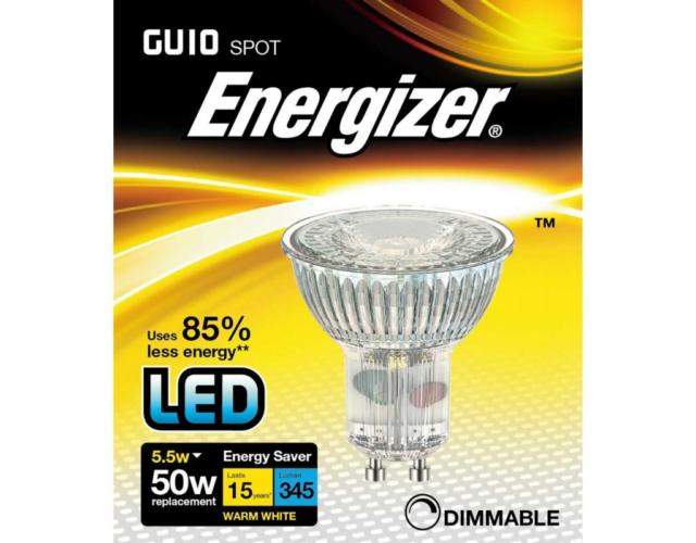 Energizer 5.5w (=50w) LED GU10 Glass Spotlight Bulb, 36°- Warm White (3000k)