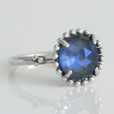 BLUE Size 7.5 Solid Sterling Silver 925 Faceted Beaded Midnight Stone Ring Band