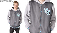 Brave Soul Mens Baseball Fleece Hooded Jacket with Ribbed Cuffs - Grey