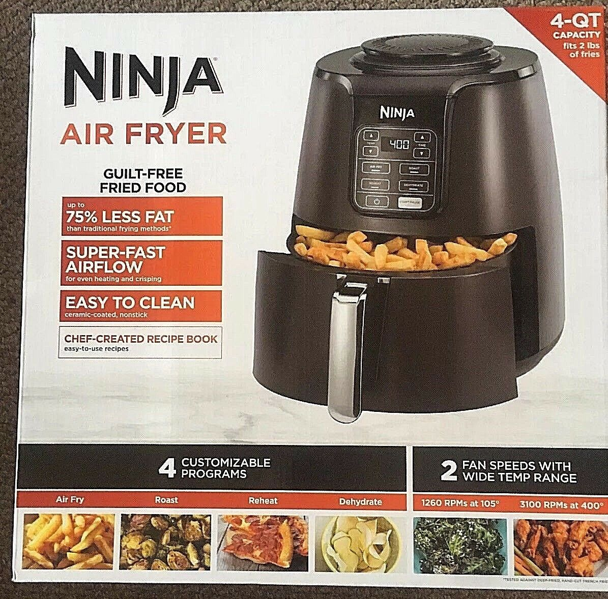 Ninja Air Fryer 4-Quart AF100  Slightly Used
