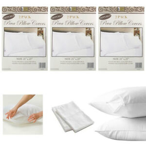 6-White-Hotel-Pillow-Plastic-Cover-Case-Waterproof-Zipper-Protector-Bed-21-X-27
