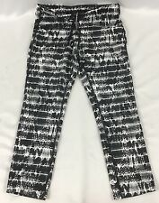 NIKE Epic Run Women's Cropped Leggings Dri-Fit Black White Print 825863 Size M