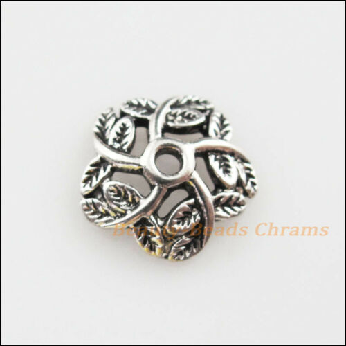 8Pcs Tibetan Silver Tone Leaf Flower End Bead Caps Craft DIY 13.5mm