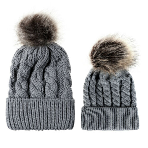 2Pcs//Kit Mom and Baby Boy Girl Caps Winter Warm Knitted Beanie Toddler Hat Set