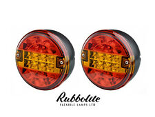 PAIR OF 12V24V VOLT LED REAR ROUND HAMBURGER TAIL LAMP LIGHT LORRY/TRUCK/TRAILER