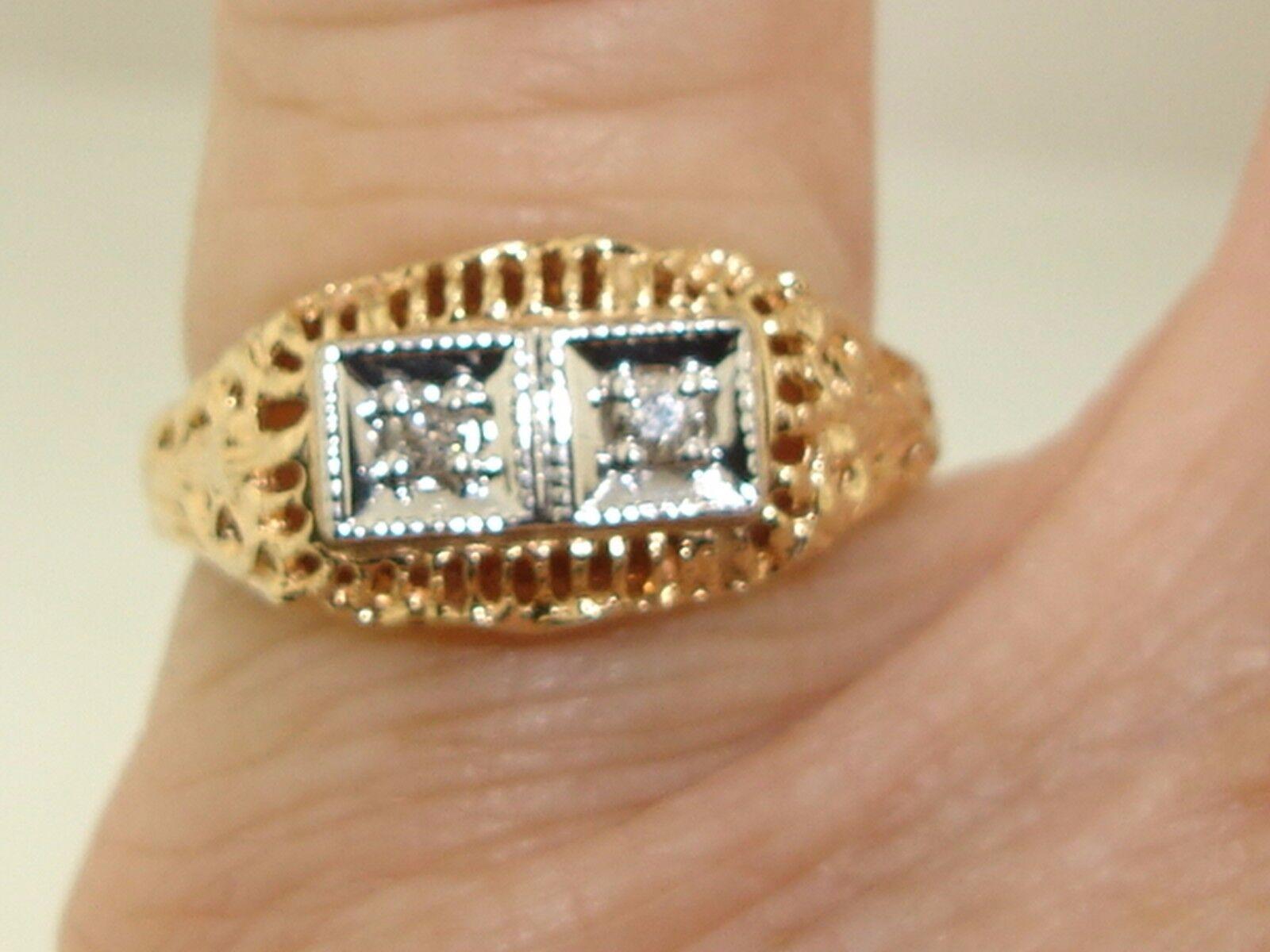 BEAUTIFUL ART NOUVEAU STYLE 10K pink gold FILIGREE & DIAMOND RING