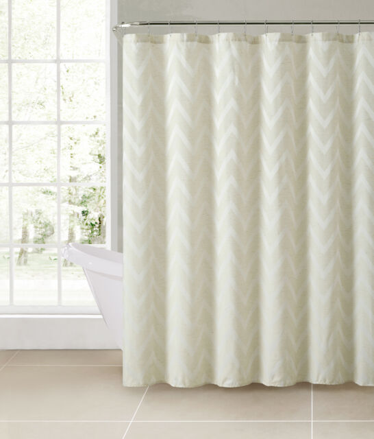 Carter Ivory Chevron Linen Blend Fabric Bathroom Shower Curtain Victoria Classic