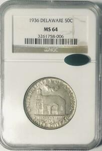 1936-Delaware-Commemorative-Silver-Half-Dollar-NGC-MS-64-CAC-Mint-State-64