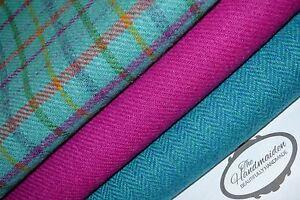 HARRIS TWEED FABRIC BUNDLES 100/% wool craft quilting patchwork tartan Scotland