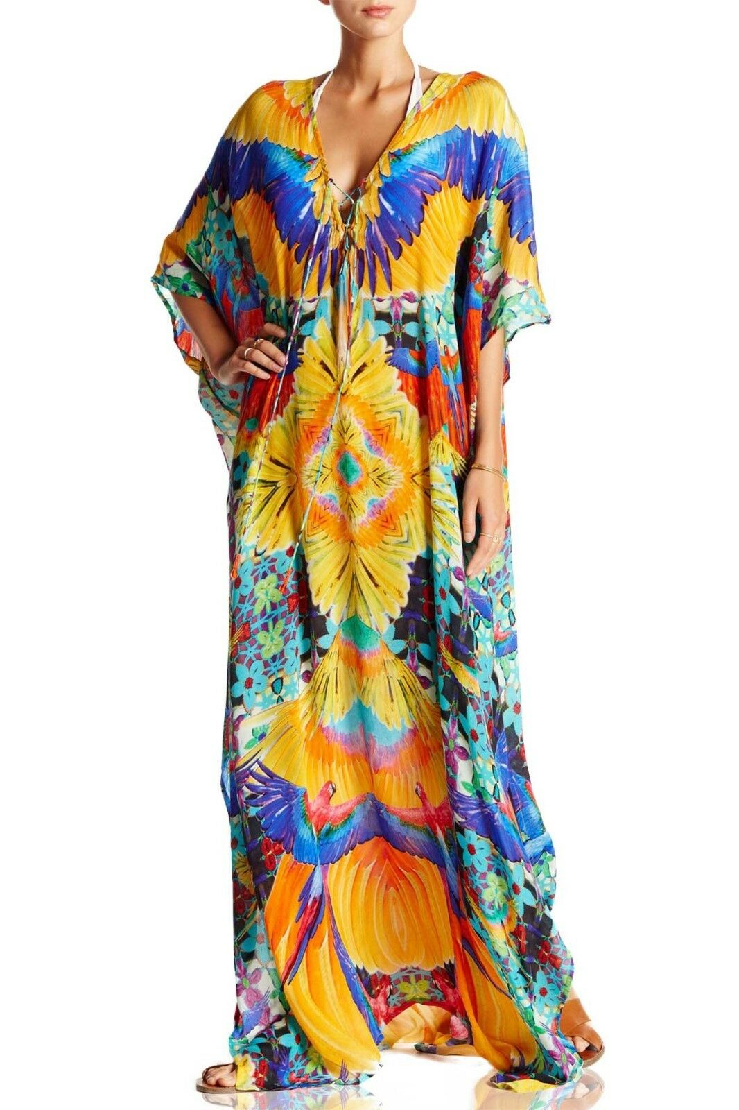 NEW SHAHIDA PARIDES TROPICAL PRINT LUXURY LONG LACE-UP KAFTAN DRESS SIZE OS WOW
