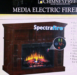 Chimney Free Media Electric Fireplace Room Air Heater Lcd Tv Stand