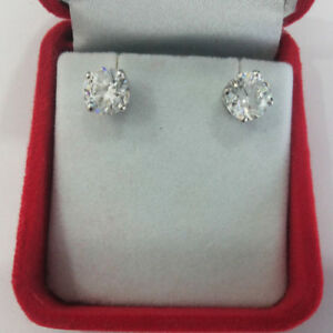 14K-Solid-White-Gold-Studs-Earrings-4-00-Ct-Round-Solitaire-Diamond-Earring