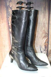 Tahari-Black-Leather-7-5-M-Women-039-s-Knee-High-Boots