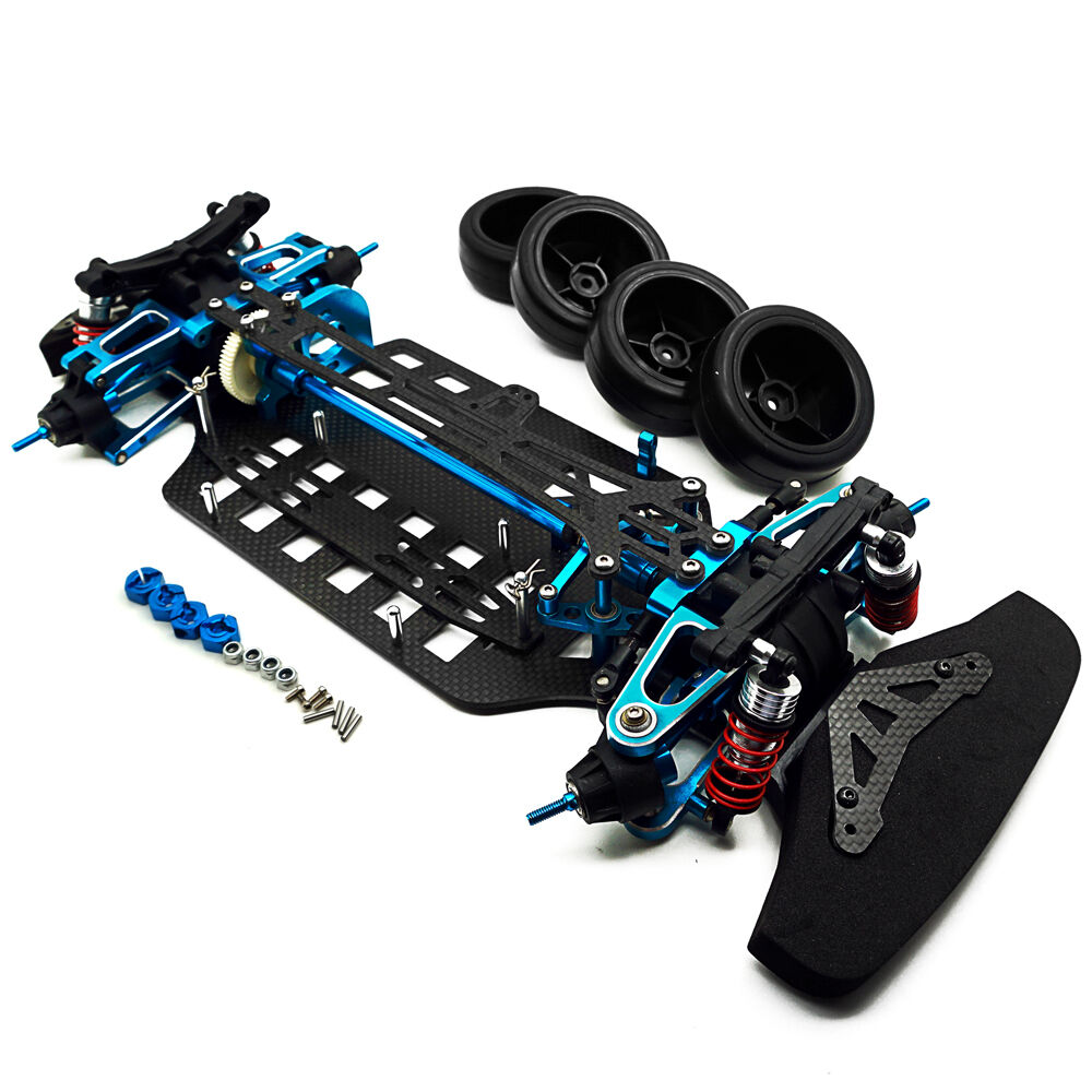 Alloy & Carbon Shaft Drive 1/10 4WD Touring Car Frame Kit for TT01 blu