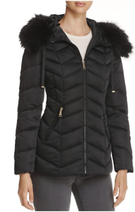 T Tahari Paris Faux Fur Trim Puffer Coat S