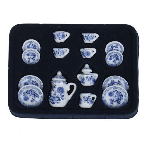 15Pcs 1:12 Dollhouse miniature blue flower tableware porcelain coffee tea c/_ec