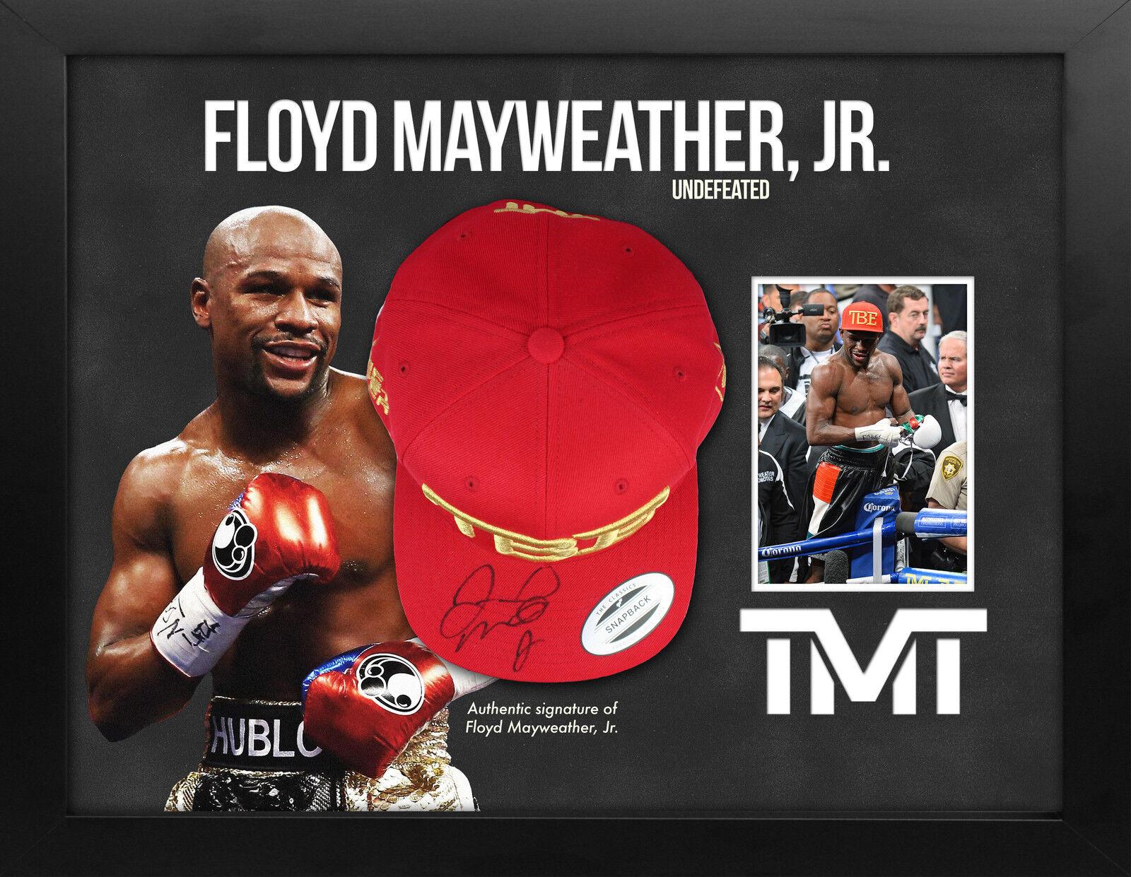 Floyd Mayweather Firmado TMT BÉISBOL Gorra Probado in Las Vegas Vegas Vegas ENMARCADO 341091