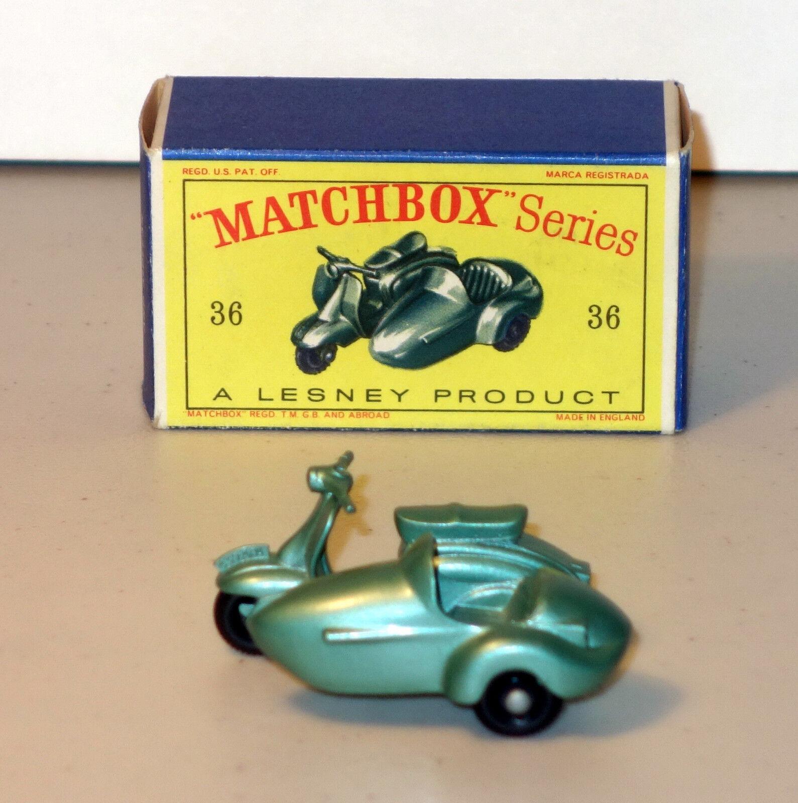 servicio considerado DTE Lesney Matchbox Matchbox Matchbox Regular ruedas 36-2 Lambretta Scooter & SideCoche con fino agua peptonada tamponada  apresurado a ver