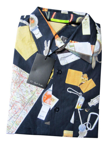 "Paul Smith /""PS/"" Navy Short Sleeve /""Travel Map/"" Holiday Shirt"