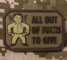 ALL OUT OF F's PVC TACTICAL USA ARMY MILITARY DESERT HOOK PATCH