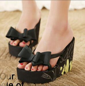 79eb4050878 Women Lady Sexy Bowknot Thong Wedge Sponge High Heel Sandal Slipper ...
