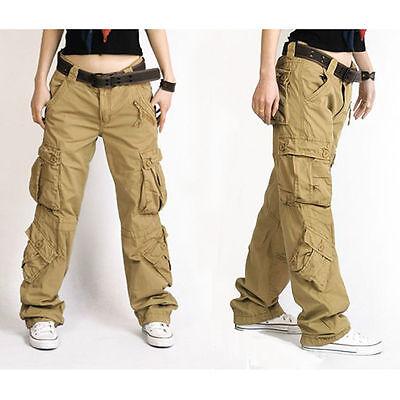 Damen Cargo Hip Hop Hose Locker Außen Militär Tasche Vintage Freizeit