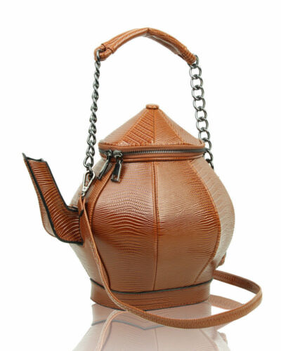 UK New Ladies Cute Style Shoulder Bag  3D Tea Pot Shaped Top-Handle Handbag//Girl