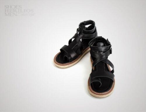 Mens Leather Buckle Gladiator Roman Strap flip flops Casual Sandals Shoes Black