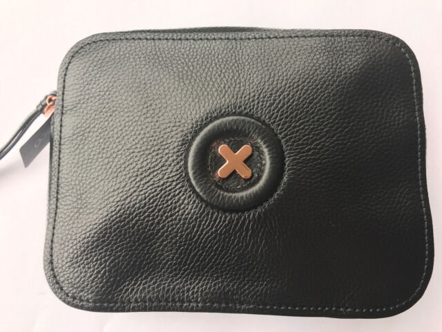 Mimco Daydream Polished Soft Leather Black Crossbody Hip Bag Authentic New