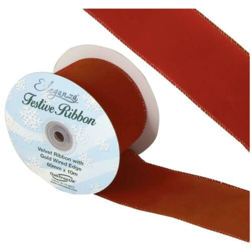 Eleganza 60mm Red  Velvet Ribbon With Gold Wired Edge 9 Metre Roll