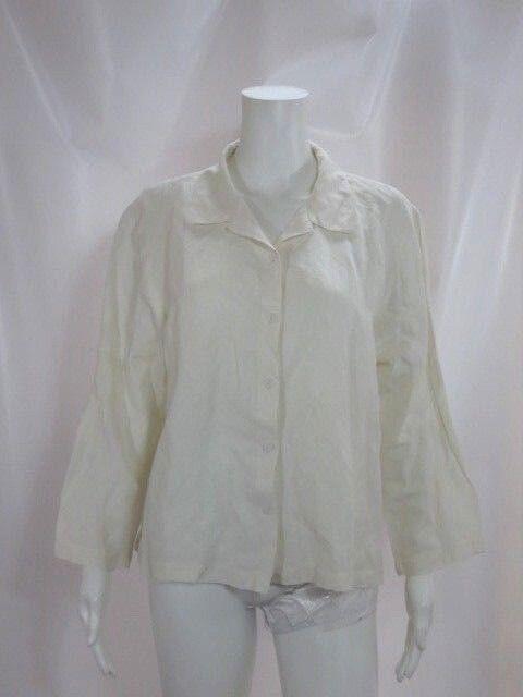 2bafef21f94 White Long Sleeve Button Down Shirt Sz L EILEEN FISHER otggks13840 ...
