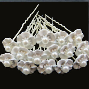 16-Forcine-spilloni-forcina-Fiore-Bianco-fermaglio-perla-capelli-acconciatura