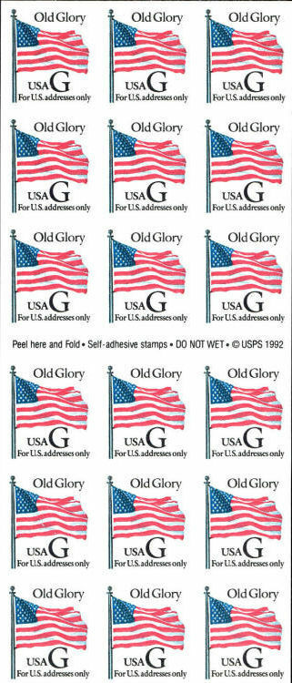 "1994 32c Old Glory, Interim Regular Issue, ""G"" Pane of"