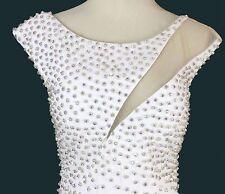 Jovani Ivory $590 Sleeveless Mermaid Long Dress Prom Formal Gown Slit Size 2