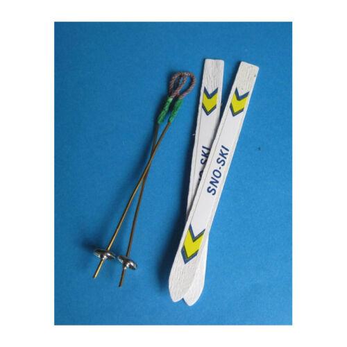 # 1 Paar Creal 73008 Ski mit Stöcken weiß 1:12 für Puppenhaus NEU