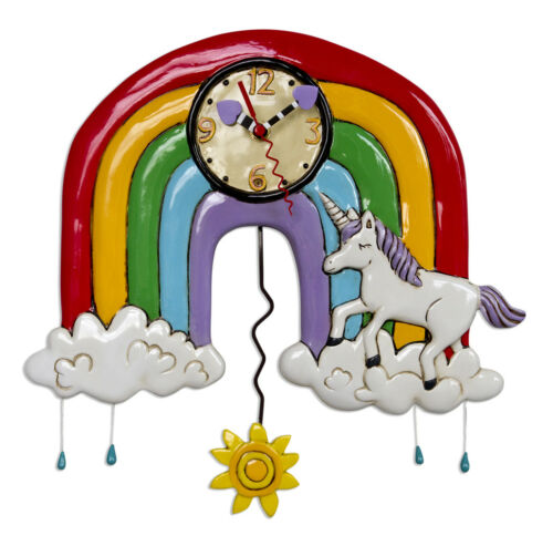 Gorgeous RAINBOWS AND UNICORNS Designer Wall Clock by Allen Designs