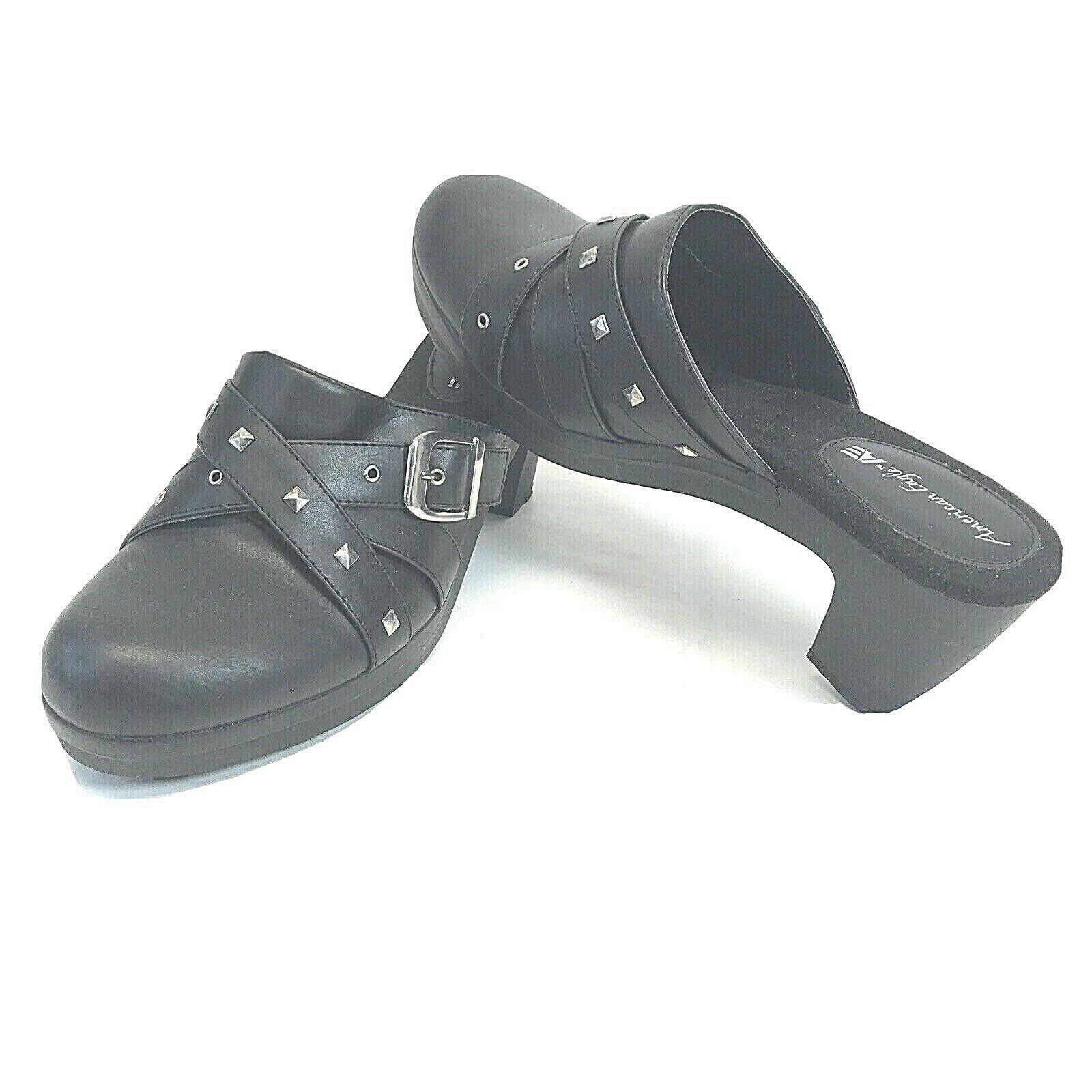 American Eagle Womens Black Chunky Heels Slip-on Clogs Studded Strap Shoes Sz 12