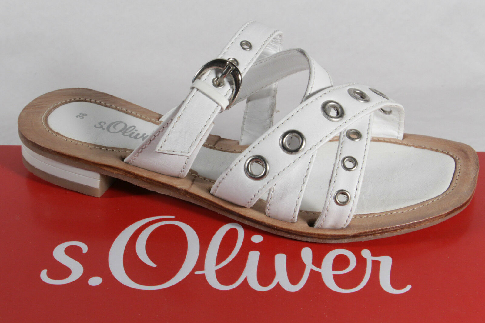 Man's/Woman's S.Oliver NEW Mules, White, Real Leather NEW S.Oliver Moderate price Pleasant appearance Seasonal hot sale ea244b