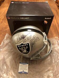 Marcus-Allen-Autographed-amp-Inscribed-Full-Size-Raiders-Helmet-Beckett-COA-HOF
