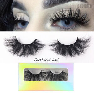 SKONHED-25MM-3D-100-Mink-Hair-False-Eyelashes-Dramtic-Long-Wispies-Fluffy-Lashes