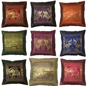 Indian-Patchwork-Mandala-Sari-ethnic-Silk-Banarsi-Cushion-Covers-Elephant-17-034-UK