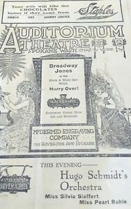 Freckles-Hugo-Schmidt-039-s-Orchestra-Auditorium-Theater-Spokane-Program-c-1910-039-s