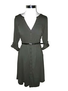 TORRID Plus Size 1 1X A-Line Dress Green Black Belt Roll Tab 3/4th Sleeve